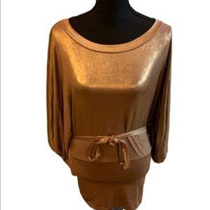 Bisou Bisou gold camel foil blouse NWT size S